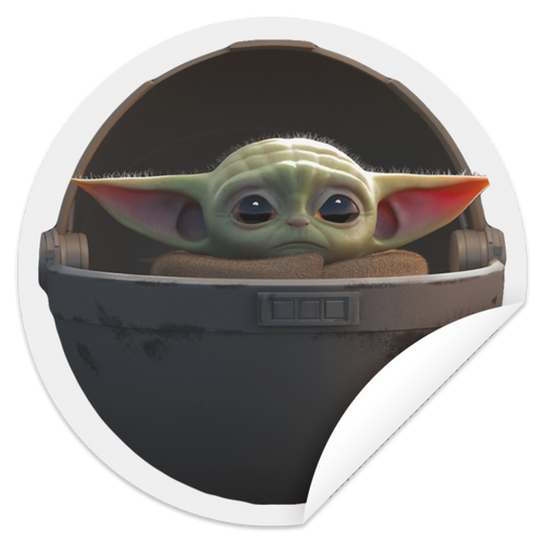 Baby Yoda floating pod sticker - TheTrendyTee
