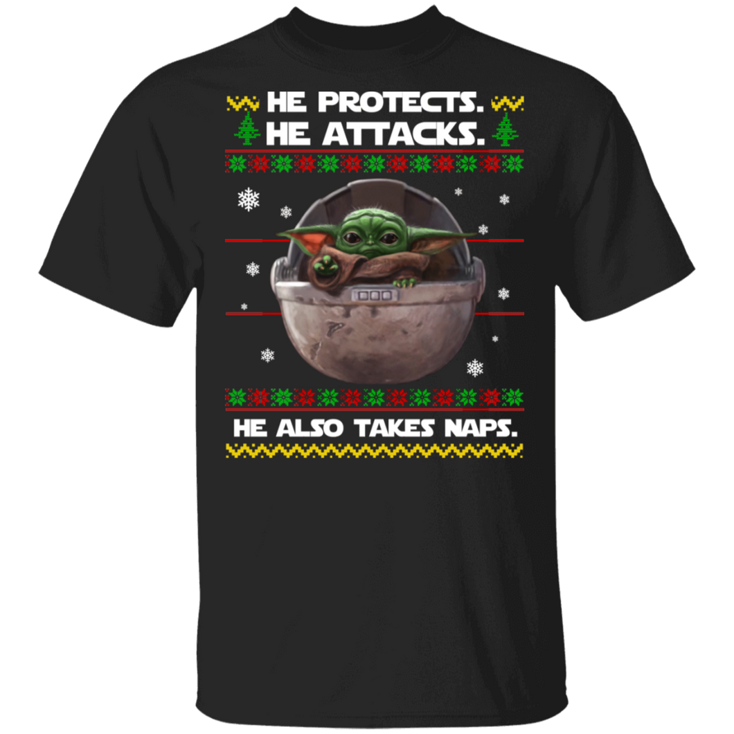 Baby Yoda he protects he also takes naps Christmas sweater