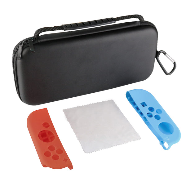 EVA Hard Carry Case zip Carabiner bag for Nintendo Switch (with 10 Game Cartridge Holders) Portable Travel Carry Protective Storage Pouch for Nintendo Switch