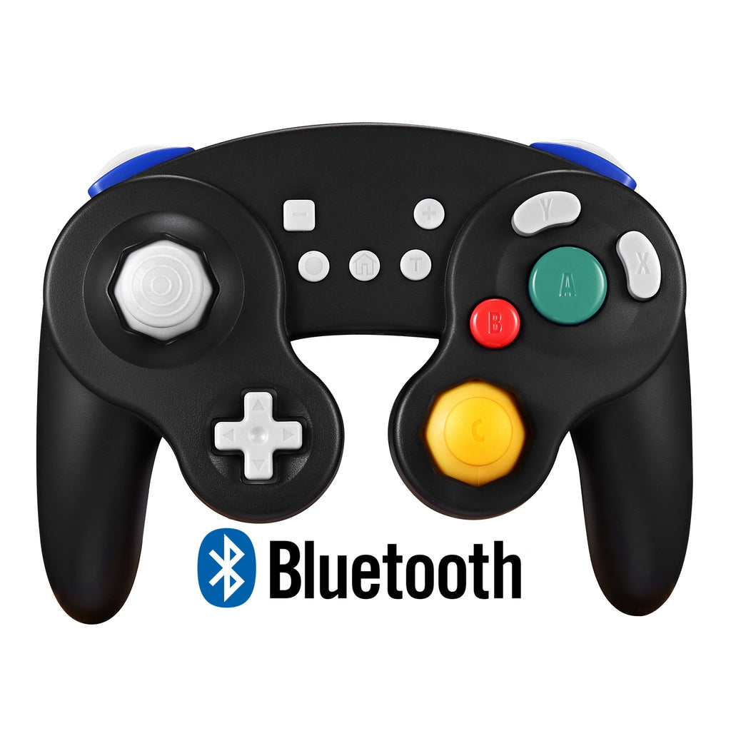 Bluetooth Wireless Gamecube Controller Switch, Compatible with Nintendo Switch and PC, Rechargeable, Motion Controls, Rumble, Turbo (Black)