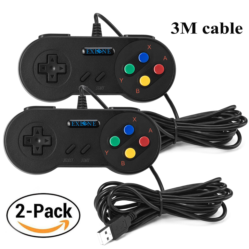 2pack Usb Controller Gamepads Joystick 10ft/3m,Usb Snes Controller Super Snes Classic Controller for PC Windows Ubuntu Raspberry Pi 3 Retropie Sega Genesis (Black)