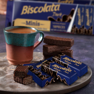 Biscolata Minis Dark Chocolate Wafer Bars - (18 pieces x3) TOTAL 54 Snacks