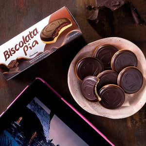 Biscolata Pia Cookies with Chocolate – 4 Pack Dark Chocolate Soft Baked Cookies Snacks