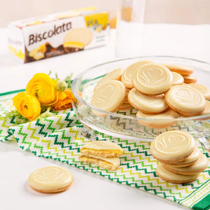 Biscolata Pia Cookies with Fruit Filling – 4 Pack Snacks Soft Baked Cookies (Pia Lemon)