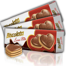 Load image into Gallery viewer, Biscolata Love Bite Chocolate Cookies with Hazelnut Cream Snacks Heart Shaped Cookies (3 Pack)