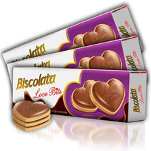 Load image into Gallery viewer, Biscolata Love Bite Chocolate Cookies with Raspberry Cream Snacks Heart Shaped Cookies (3 Pack)