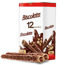 Load image into Gallery viewer, Biscolata Nirvana Rolled Wafers Snacks with Premium Chocolate Cream Filled - Hazelnut - Pack of 12