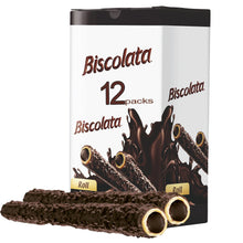 Load image into Gallery viewer, Biscolata Nirvana Rolled Wafers with Premium Chocolate Cream Filled - 12 Pack Rolled Snacks with Chocolate (Dark)