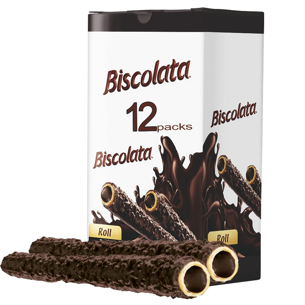 Biscolata Nirvana Rolled Wafers with Premium Chocolate Cream Filled - 12 Pack Rolled Snacks with Chocolate (Dark)