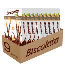 Load image into Gallery viewer, Biscolata Stix Biscuit Snacks Coated with Milk Chocolate - (9 Pack) (Hazelnut)