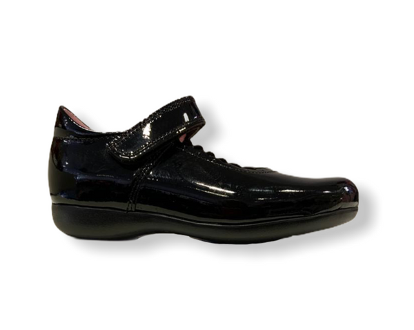 Petasil Blanche Black Patent Leather Velcro Shoe