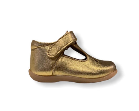Petasil Tia Gold Leather T-Bar Shoe