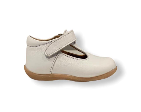Petasil Tim White Leather T-Bar Shoe
