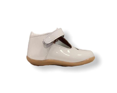 Petasil Tia White Patent Leather T-Bar Shoe