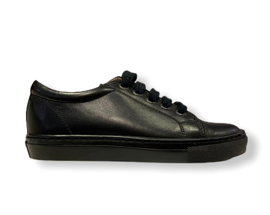 Petasil Peel Black Leather Lace Up School Shoe