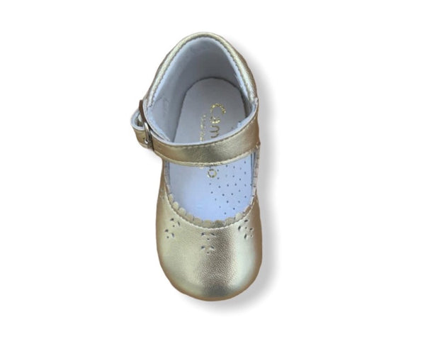 Caminito Baby Gold Leather Buckle Shoe