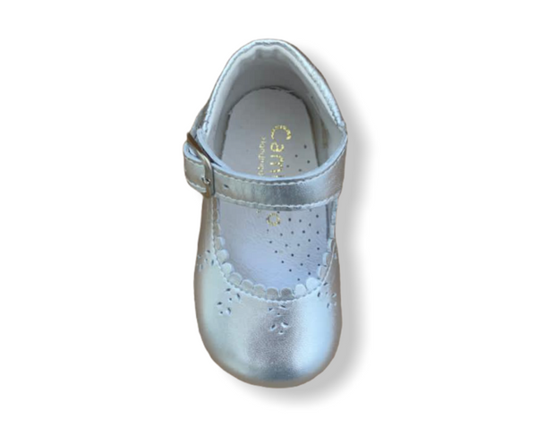 Caminito Baby Silver Leather Buckle Shoe