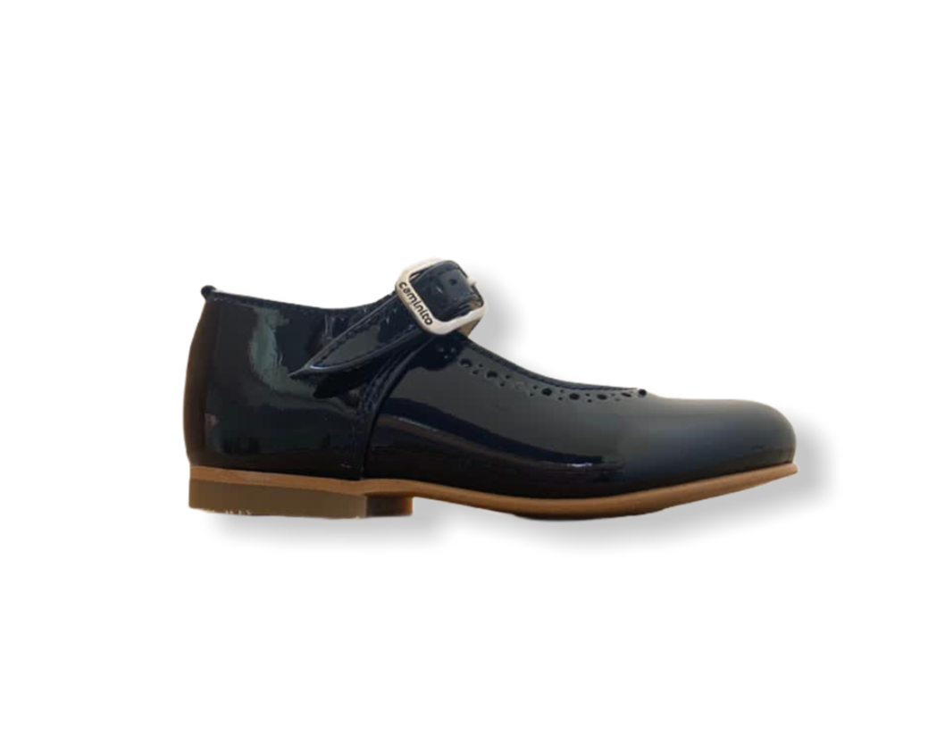 Caminito Navy Patent Leather Buckle Shoe