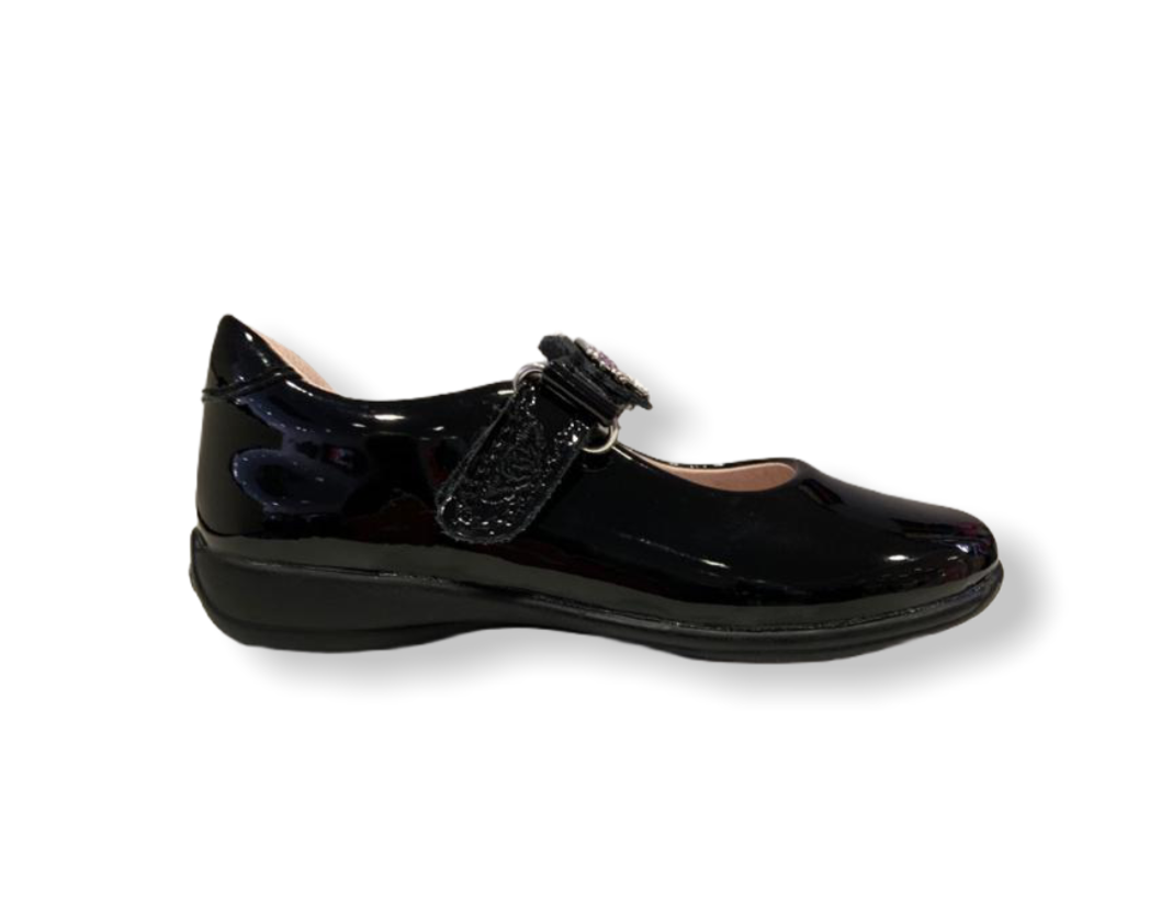 Lelli Kelly Blossom Black Patent Interchangeable Unicorn Strap School Shoe