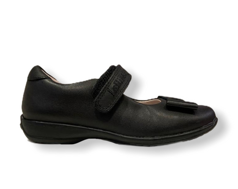 Lelli Kelly Perrie Black Leather Bow Velcro Shoe