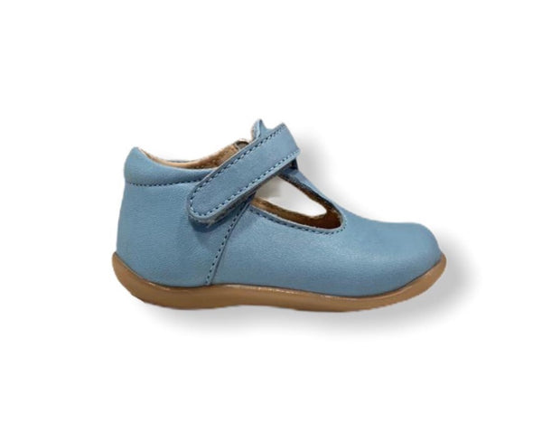 Petasil Tim Baby Blue Leather T-Bar Shoe