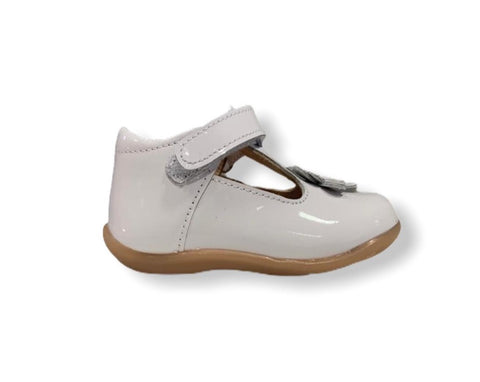 Petasil Fern White Patent T-Bar Shoe