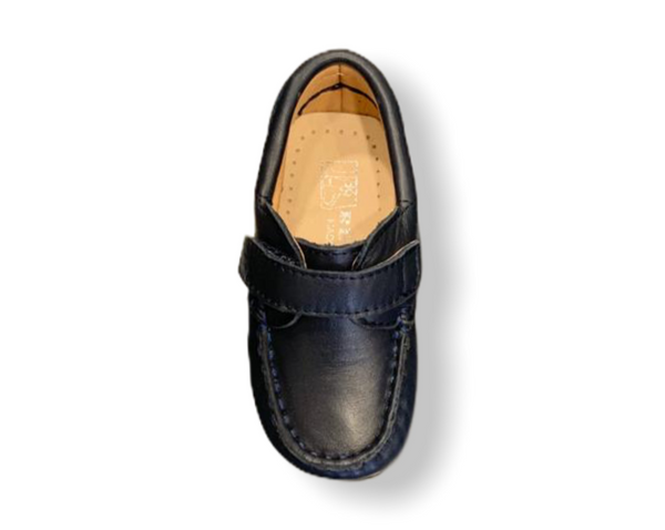 Rettos Baby Navy Leather Velcro Loafer