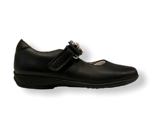 Lelli Kelly Buttercup Black Leather Velcro Shoe