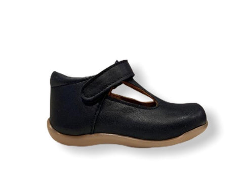 Petasil Tim Navy Leather T-Bar Shoe
