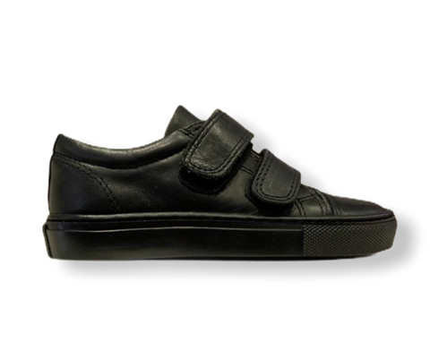 Petasil Pose Black Leather Velcro School Shoe