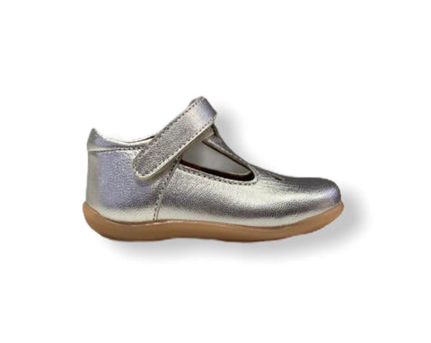 Petasil Tia Silver Leather T-Bar Shoe
