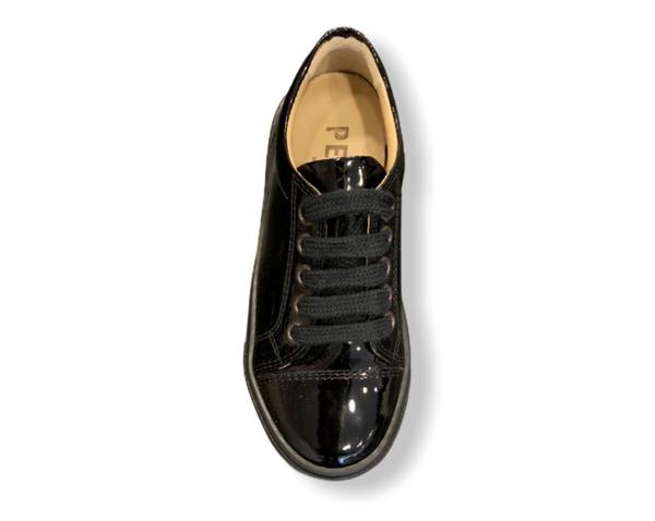 Petasil Peel Black Patent Lace Up School Shoe