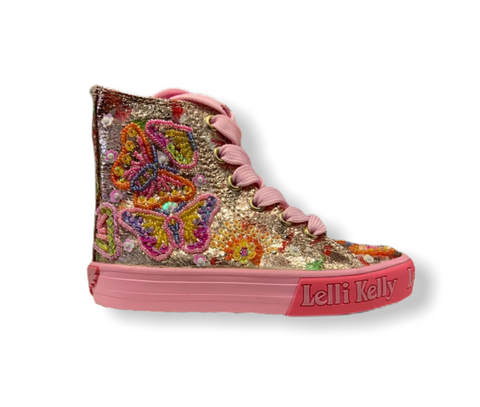 Lelli Kelly Clematis Beaded Butterfly Hi-Top Trainer