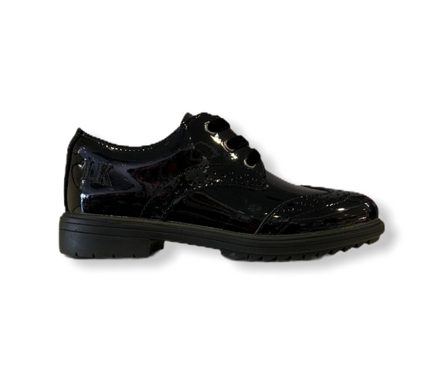 Lelli Kelly Kara Black Patent Lace Brogue School Shoe