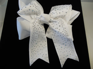 White Hair Bow with Silver Accents