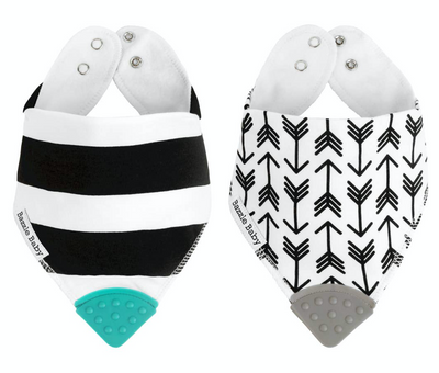 This bandana bib set has everything a little drooler needs including a BPA Free soft silicone teether to soothe those sore teething gums! These bibs will be sure to keep your babies dry and happy! Designed with stylish black and white stripes and white with black arrows, these bandana bib patterns would look adorable on your little babe! Our bandana bibs are machine washable and feature adjustable snap closure.