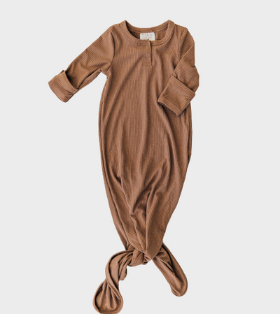 Brown Cocoa Ribbed Knotted Gown