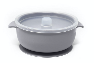 Lilac Grey Silicone Suction bowl with lid