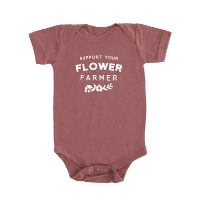 Support Your Flower Farmer Mauve Baby Onesie
