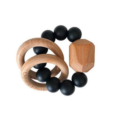 Black Chewable Charm Silicone + Wood Teether Ring
