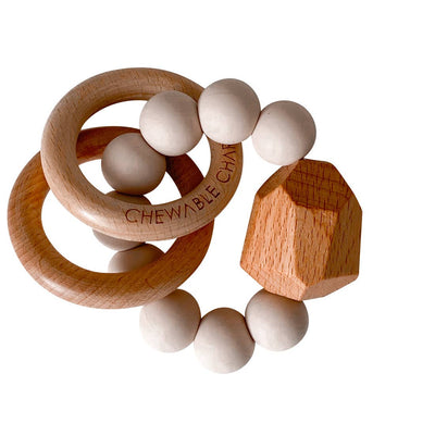 Oat Chewable Charm Silicone + Wood Teether Ring