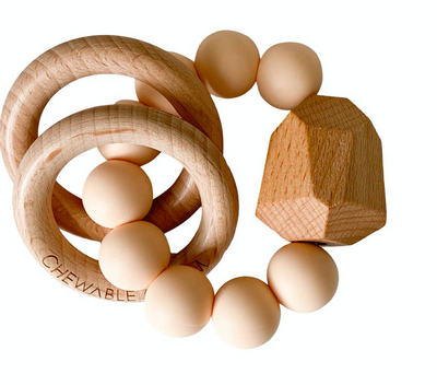 Creamsicle Chewable Charm Silicone + Wood Teether Ring