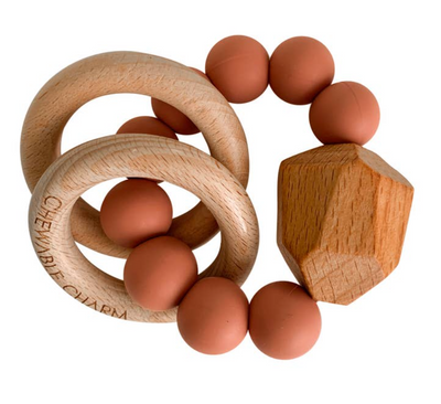 Zion Sand Chewable Charm Silicone + Wood Teether Ring