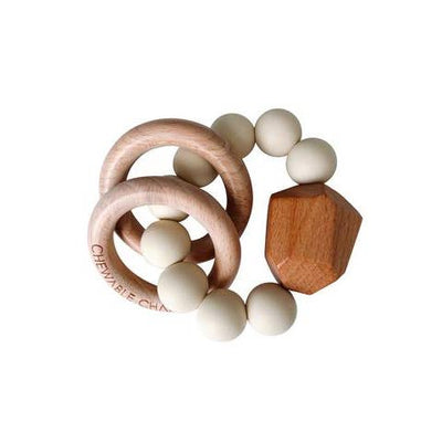 Cream Chewable Charm Silicone + Wood Teether Ring