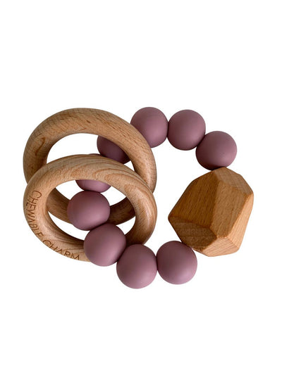 Gem Chewable Charm Silicone + Wood Teether Ring
