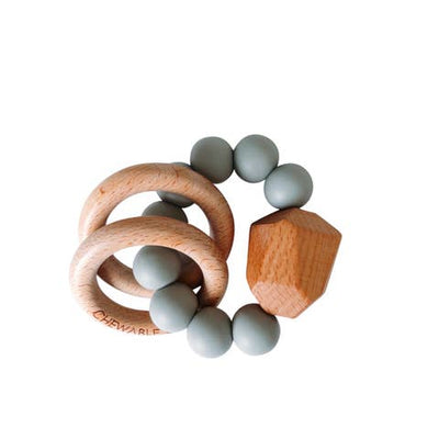 Grey Chewable Charm Silicone + Wood Teether Ring
