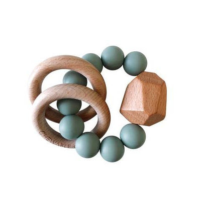 Succulent Chewable Charm Silicone + Wood Teether ring