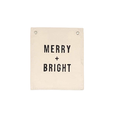 Screen printed Christmas Banner - Merry + Bright