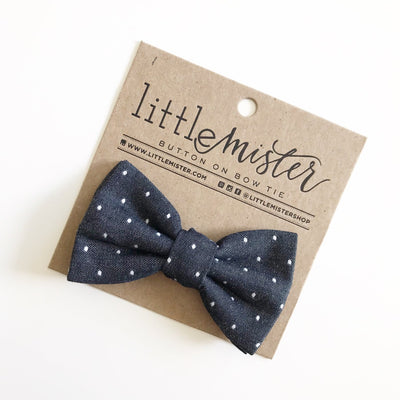 Midnight Polka Dot Toddler and Baby Button Bow Tie by Little Mister