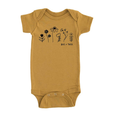 Bees + These Graphic Onesie Mustard Yellow